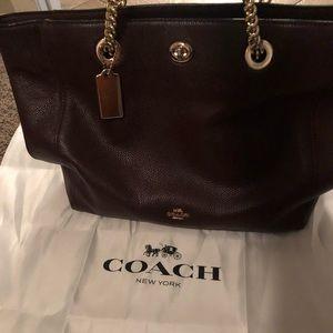 Coach turnlock tote bag